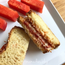 Turkey Pepperoni Pizza Sandwich on Honey Oat